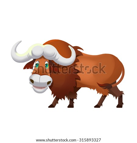 Illustration: Cow, Yak. Fantastic Cartoon Style Animal or Game Character Design. - stock photo
