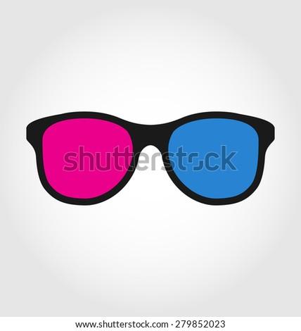 Illustration 3d glasses red and blue on white  background - raster - stock photo