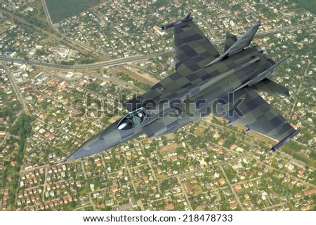 illustration 3d model of jet fighter, flying above the suburban landscape. - stock photo
