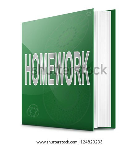 Illustration depicting a book with a homework concept title. White background. - stock photo