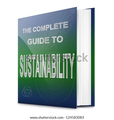 Illustration depicting a book with a sustainability concept title. White background. - stock photo