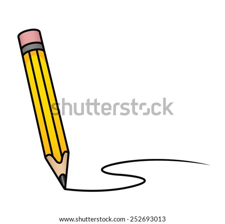 Illustration depicting a cartoon pencil drawing a curved line. Raster. - stock photo