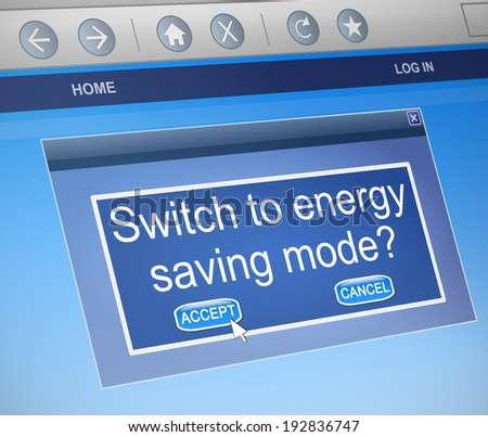 Illustration depicting a computer dialogue box with an energy saving mode concept. - stock photo
