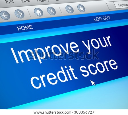 Illustration depicting a computer screen capture with a credit score concept. - stock photo