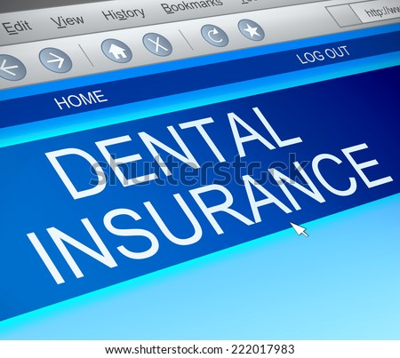 Illustration depicting a computer screen capture with a dental insurance concept. - stock photo