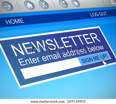 Illustration depicting a computer screen capture with a newsletter concept. - stock photo