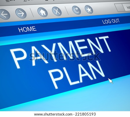Illustration depicting a computer screen capture with a payment plan concept. - stock photo