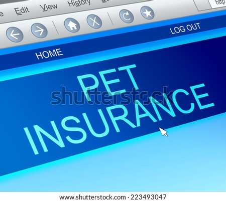 Illustration depicting a computer screen capture with a pet insurance concept. - stock photo