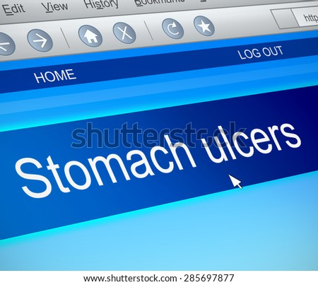 Illustration depicting a computer screen capture with a stomach ulcer concept. - stock photo