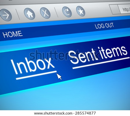 Illustration depicting a computer screen capture with an inbox concept. - stock photo