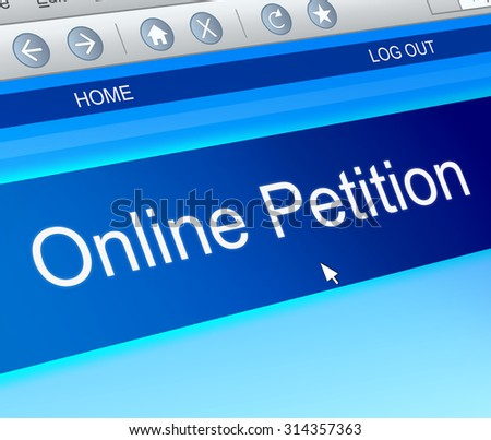 Illustration depicting a computer screen capture with an online petition concept. - stock photo