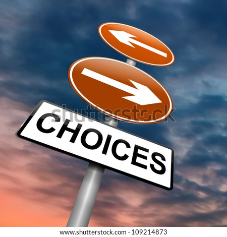 Illustration depicting a directional roadsign with a choices concept. Dramatic sky background. - stock photo