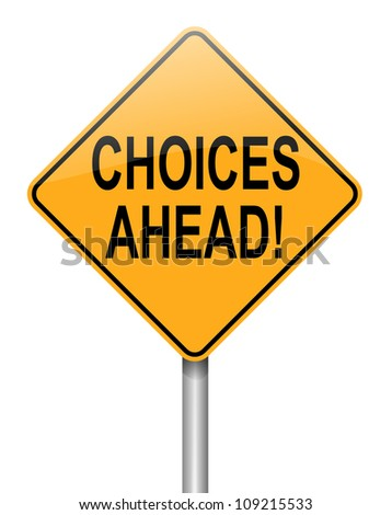Illustration depicting a directional roadsign with a choices concept.White background. - stock photo