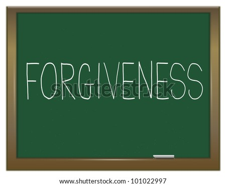 Illustration depicting a green chalkboard with the word 'forgiveness'. - stock photo