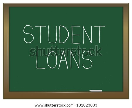 Illustration depicting a green chalkboard with the words 'Student loans'. - stock photo