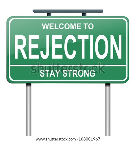 Illustration depicting a green roadsign with a rejection concept. White background. - stock photo