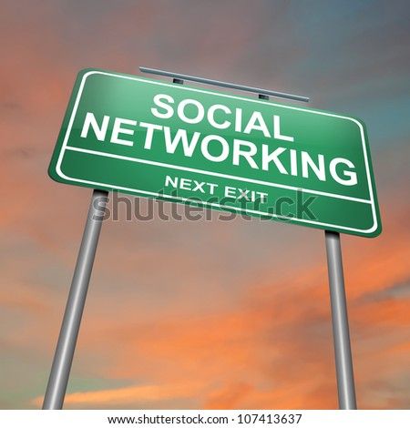 Illustration depicting a green roadsign with a social networking concept. Sunset sky background. - stock photo