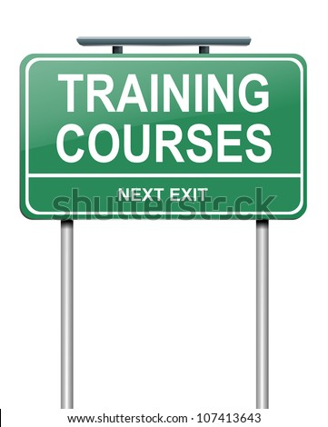 Illustration depicting a green roadsign with a training courses concept. White background. - stock photo