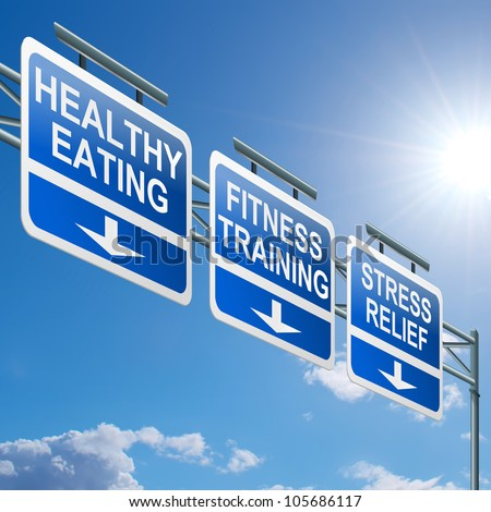 Illustration depicting a highway gantry sign with a healthy lifestyle concept. Blue sky background. - stock photo