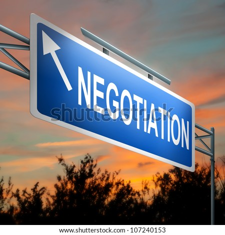Illustration depicting a highway gantry sign with a negotiation concept. Sunset sky background. - stock photo