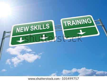 Illustration depicting a highway gantry sign with a new skills and training concept. Blue sky background. - stock photo