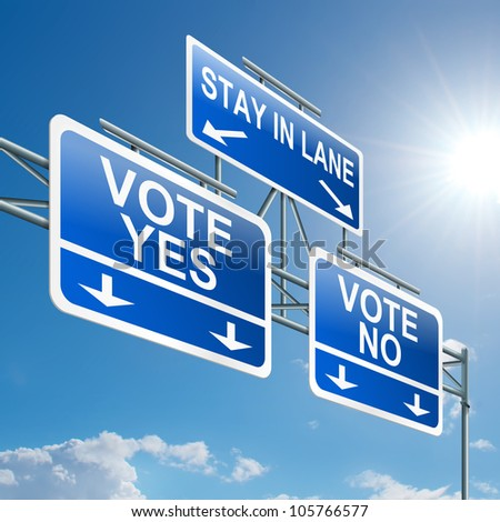 Illustration depicting a highway gantry sign with a voting concept. Blue sky background. - stock photo