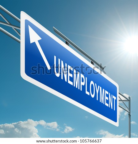 Illustration depicting a highway gantry sign with an unemployment concept. Blue sky background. - stock photo