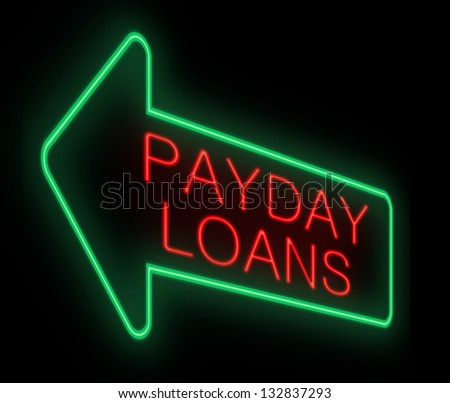 Illustration depicting a neon sign with a payday loans concept. - stock photo