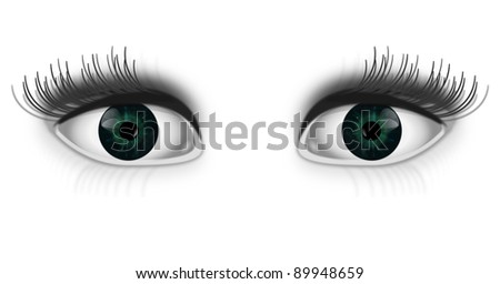 Illustration depicting a pair of green human eyed with white background. - stock photo