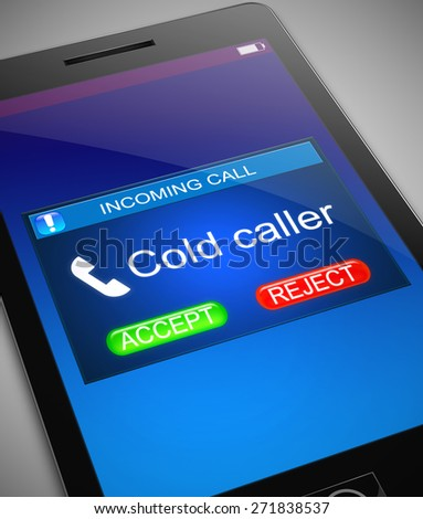 Illustration depicting a phone with a cold caller concept. - stock photo