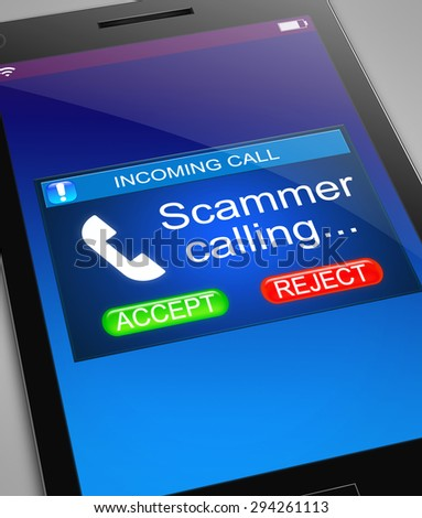 Illustration depicting a phone with a scam call concept. - stock photo