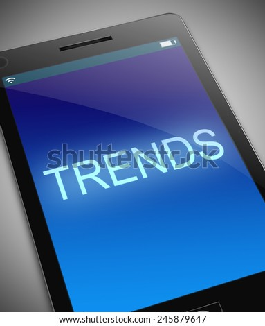 Illustration depicting a phone with a trends concept. - stock photo