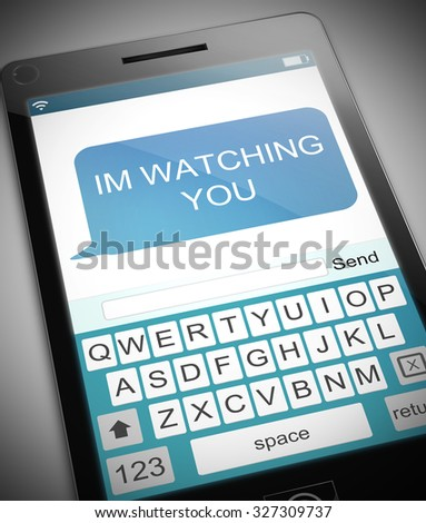 Illustration depicting a phone with a watching concept. - stock photo