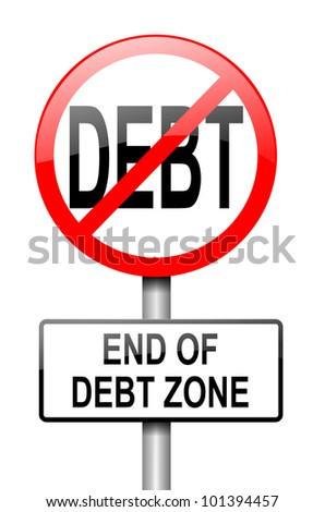 Illustration depicting a red and white road sign with a debt free concept. White background. - stock photo