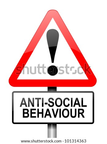 Illustration depicting a red and white triangular warning sign with a anti social behaviour concept. White background. - stock photo
