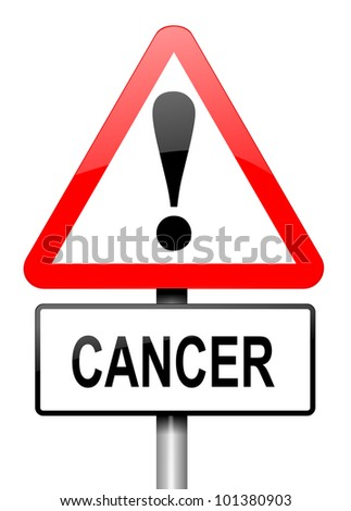 Illustration depicting a red and white triangular warning sign with a cancer warning concept. White background. - stock photo