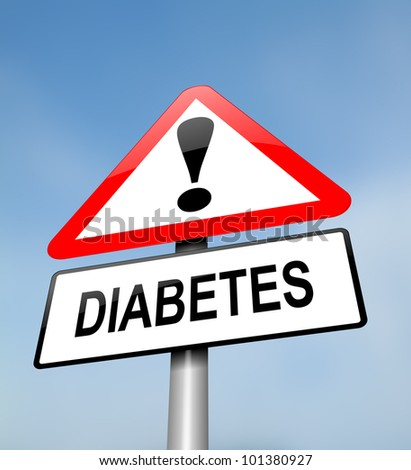 Illustration depicting a red and white triangular warning sign with a diabetes concept. Blurred sky background. - stock photo