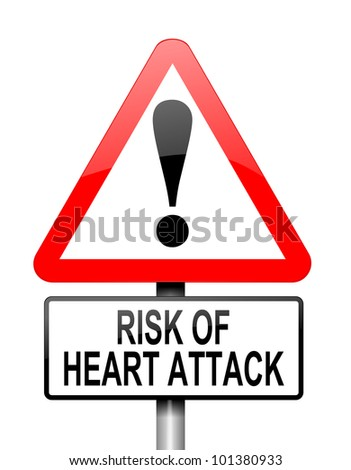 Illustration depicting a red and white triangular warning sign with a heart attack concept. White background. - stock photo