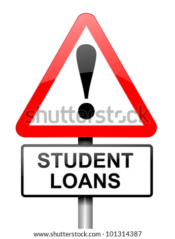 Illustration depicting a red and white triangular warning sign with a student loans concept. White background. - stock photo