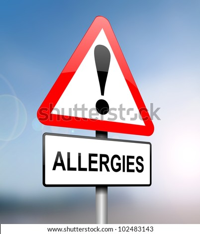 Illustration depicting a red and white triangular warning sign with an 'allergies' concept. Blurred blue sky background. - stock photo
