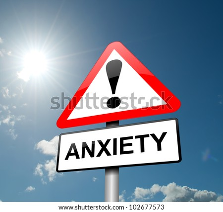 Illustration depicting a red and white triangular warning sign with an 'anxiety' concept. Sky background. - stock photo