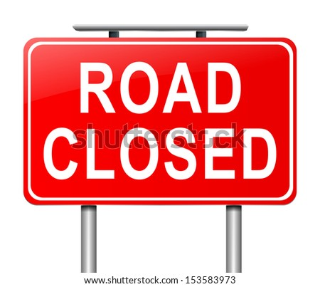 Illustration depicting a road closed sign with white background. - stock photo