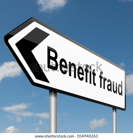 Illustration depicting a road traffic sign with a benefit fraud concept. Blue sky  background. - stock photo