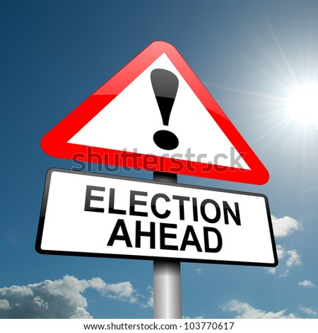 Illustration depicting a road traffic sign with a election concept. Blue sky background. - stock photo