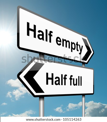 Illustration depicting a road traffic sign with a half empty, half full concept. White background. - stock photo
