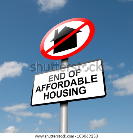 Illustration depicting a road traffic sign with an affordable housing concept. Blue sky background. - stock photo