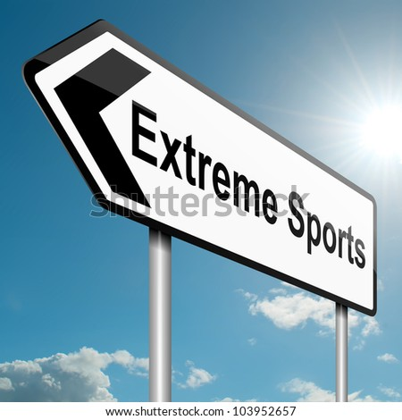 Illustration depicting a road traffic sign with an extreme sports concept. Blue sky background. - stock photo