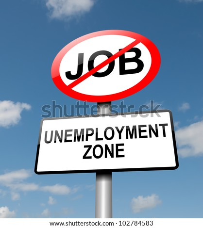 Illustration depicting a road traffic sign with an unemployment concept. Blue sky background. - stock photo