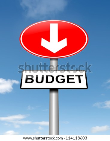 Illustration depicting a roadsign with a budget concept. Sky background. - stock photo