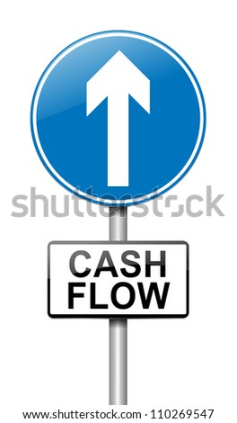 Illustration depicting a roadsign with a cash flow concept. White  background. - stock photo